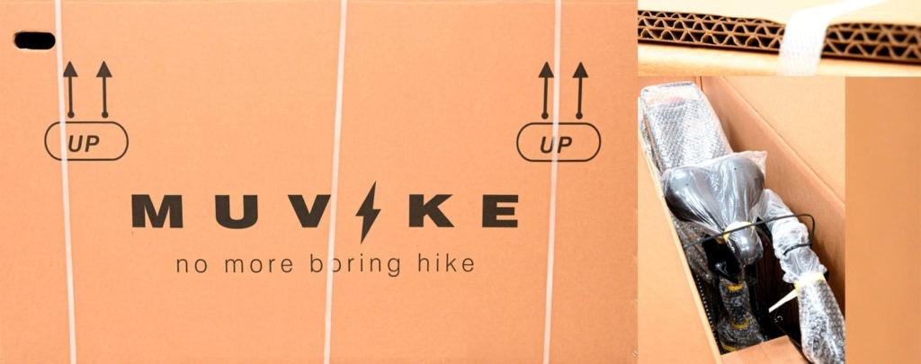 karton z zapakowanym elektrycznym rowerem miejskim muvike city